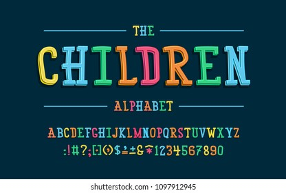 Latin alphabet. Children font in cute cartoon 3d style.