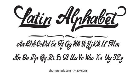 Latin alphabet, hand made, font for your design.