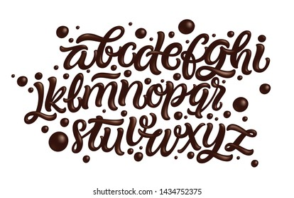 Latin alphabet made of dark melted chocolate. Liquid font style. Vector.
