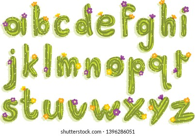 Latin alphabet made of green cactus with blooming flowers. English letters from A to Z. Flat vector font for poster, greeting card or children print