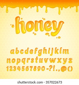 Latin alphabet made of liquid honey, decorated with seamless honey border. Colorful cartoon English alphabet made of honey. Sweet food honey font style for decoration. Vector