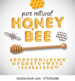 Latin alphabet and numbers made of honey, vector illustration.
