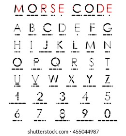 Latin alphabet and numerals in international Morse Code. Visual presentation of use dots and dashes for easy learning. Grey letters and black symbols isolated on white background.