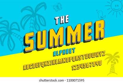 Latin alphabet. Summer font in cute 3d style. For your design