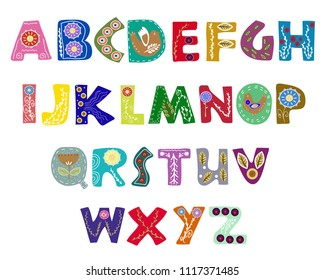 Latin alphabet vector in Scandinavian style.Bright letters decorated with ornament. Clean sharp font, flat line style.Transparent background. All elements are isolated