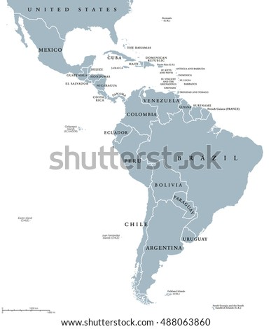Latin America Countries Political Map National Stock Vector Royalty