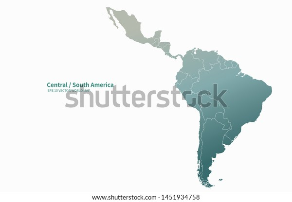 latin america map. graphic vector of central map, south america map. south america countries.