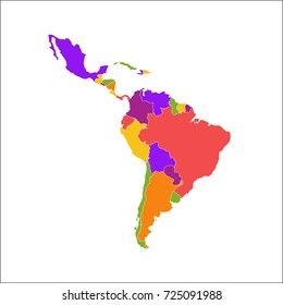 Latin America Map Vector Illustration