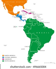 Latin America regions. Map of the subregions Caribbean, North, Central and South America in different colors, with national borders and English country names. Illustration on white background.