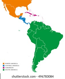Latin America regions political map. The Caribbean in purple color, North America in orange, Central America in blue and South America in green color. With international borders. Illustration.