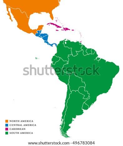 Latin America Regions Political Map Caribbean Stock-Vrgrafik ... on