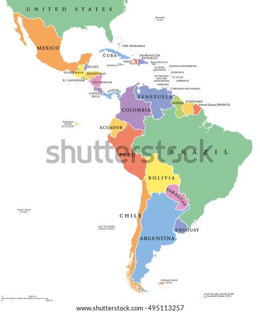 Latinamerika Enkelt Stater Politisk Kort Lande Lagervektor