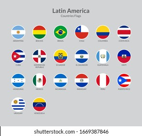 Latin American countries flag icons collection