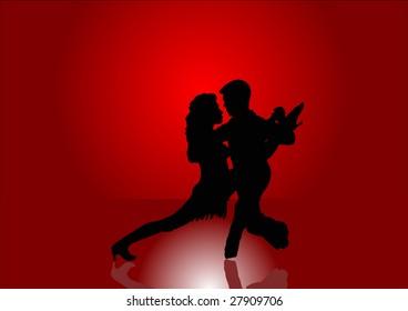 Latin American Dancers in Silhouette