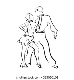 Latin American dances , vector, sketch, male and female , dancers, couple