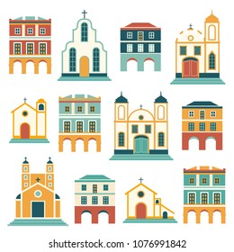 Latin American festa junina houses the June party of Brazil. Flat seamless pattern with symbolism of the holiday.