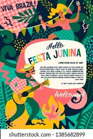 Latin American holiday, the June party of Brazil. Festa Junina. Vector illustration