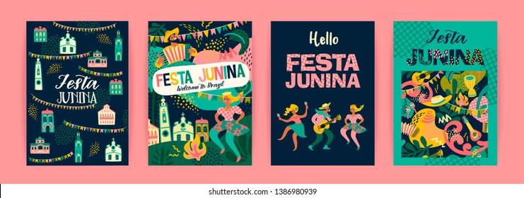Latin American holiday, the June party of Brazil. Festa Junina. Vector templates.