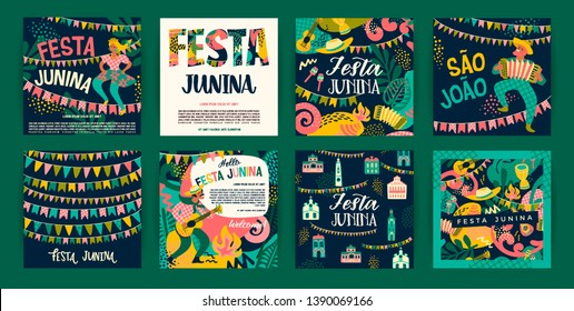 Latin American holiday, the June party of Brazil. Festa Junina. Vector templates.