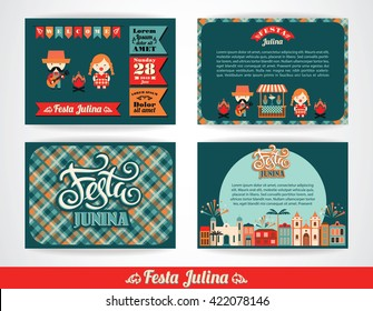 Latin American holiday, the June party of Brazil. Set of vector templates with symbolism of the holiday