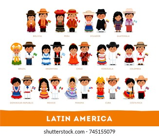 Latin Americans in national clothes. Big set of different cartoon characters in traditional costume with flag. Men and women. Vector flat illustration.