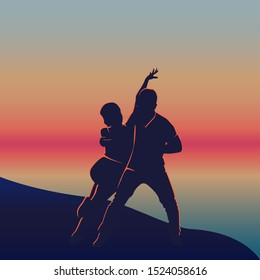 Latin dancing poster for the party. Couple dance kizomba at sunset beach. Dancers on the sand at summer dusk.