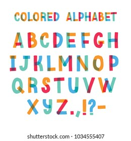 Latin font or decorative english alphabet made of colorful adhesive tape. Set of bright colored stylized letters arranged in alphabetical order and isolated on white background. Vector illustration.