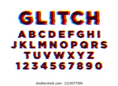 Latin font or english alphabet written on white background. Letters arranged in alphabetical order and numbers with video defect, electronic glitch effect, cyber crash. Modern vector illustration.