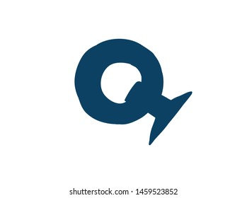 Latin letter Q. Vector. Logo for the company. Icon for the site. Separate letter from the alphabet. Barbed pleasant shape.