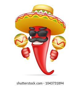 Latin maraca mexican hat red cool hot chili pepper sunglasses mustache happy character 3d realistic cartoon design vector illustration