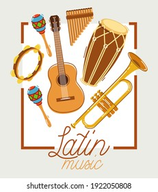 Latin music band salsa vector flat poster isolated over white background, live sound festival concert or night dancing party, Brazil or Cuban musical fiesta theme advertising flyer or banner.
