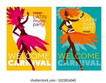 latin  music carnival poster. Tropical color sketch-style rumba girl for party poster, invitation, cover. Stock vector illustration.