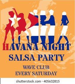 Latin Party Flyer with girls and Cuban flag