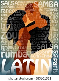 Latin party illustration with dancing cuban couple