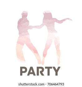 Latin Party - vector illustration with dancing couple. Watercolor version