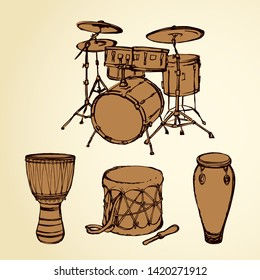 Latin tribal bang culture skin craft tom tam on white paper background. Freehand line black ink drawn conga tomtom darbuka kick logo sign icon pictogram in artistic retro cartoon doodle graphic style