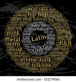 Latin. Word cloud, circles, grunge background. Musical styles.
