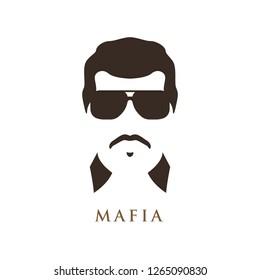 Latino man with mustache, wearing dark sunglasses. Portrait of mafioso. Vector illustration.