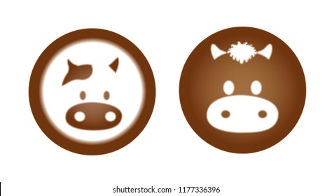 Latte Coffee Art Animal Set Bull Cow Cute Cartoon