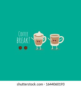 latte coffee, cup of coffee with milk and coffee bean. Funny image, Vector illustration, cut image. Funny food. Use for the menu, in the shop, in the bar, the card or stickers.