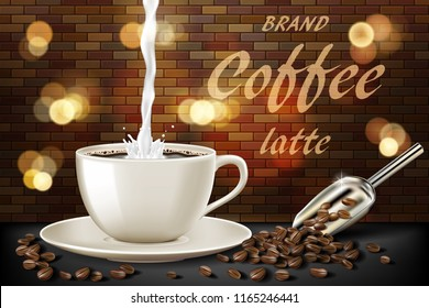 Latte coffee cup with milk splash and beans ads. 3d illustration of hot coffee mug. Product retro design with bokeh and brick background. Vector
