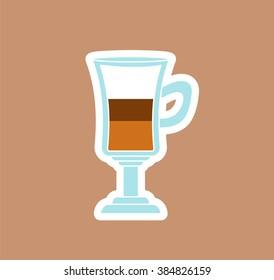 Latte Glass Icon. Vector Illustration