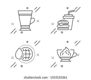 Latte, Hamburger and World water line icons set. Espresso cream sign. Coffee beverage, Burger with drink, Aqua drop. Cafe con panna. Food and drink set. Line latte outline icon. Vector