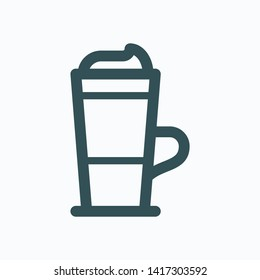 Latte isolated icon, coffee latte glass cup with foam linear vector icon