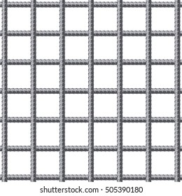 Lattice of fitting. Reinforcement steel for building. Vector illustration Isolated on white background.