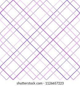 Lattice, grating made of uneven hand drawn doodle diagonal stripes. Purple, lilac, violet color seamless repeat pattern. Crossing  streaks geometrical background. Square grid, trellis, mesh texture.