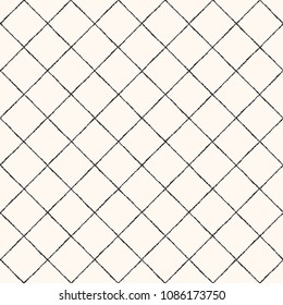 Lattice made of uneven brush, chalk drawn diagonal stripes seamless repeat pattern. Square grid, trellis, mesh texture with rhombus cells. Crossing textured streaks, bars geometric retro background.