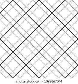 Lattice, trellis, grating made of uneven hand drawn diagonal stripes seamless repeat pattern. Crossing doodle streaks, bars geometrical background. Square grid, mesh texture with rhombus shapes, cells