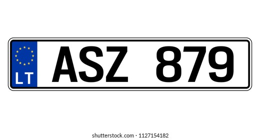 Latvia car plate. Vehicle registration number