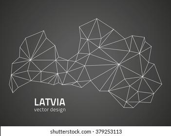 Latvia contour map